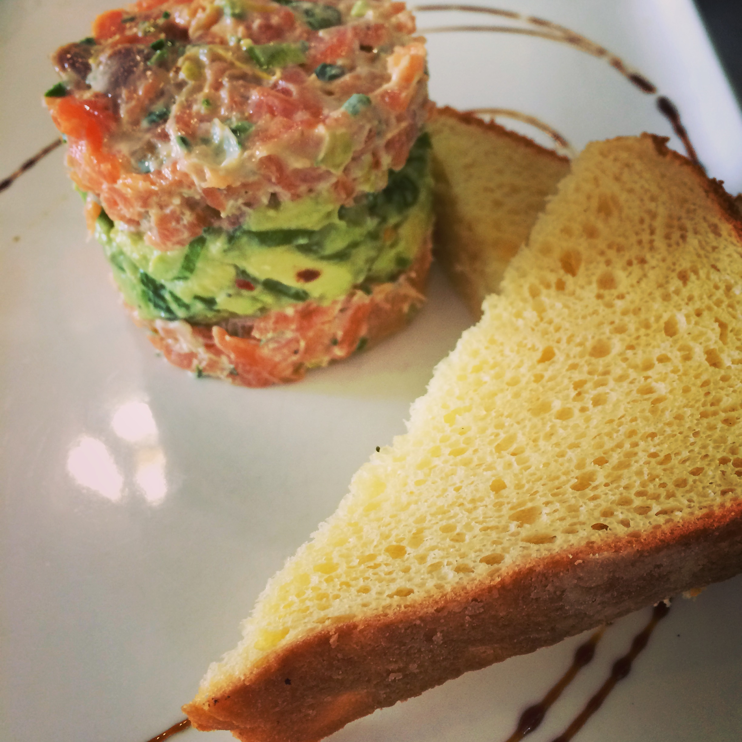 Salmon and avocado timbale at Rouge Cafe in Cambridge