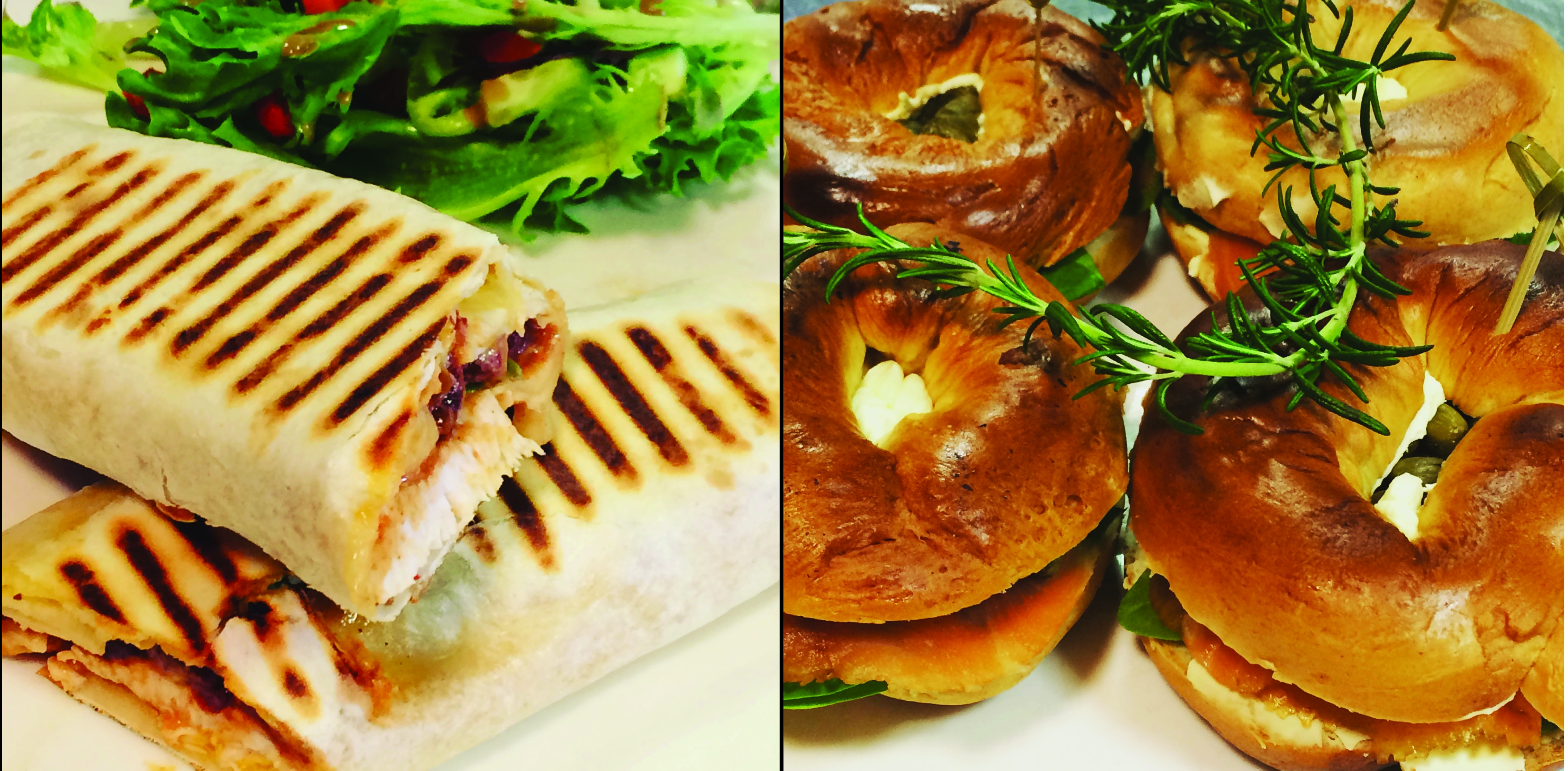 Chipotle Chicken Wrap and Salmon Bagel at Rouge Cafe, Cambridge