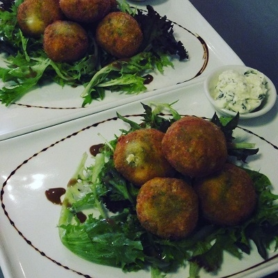 Pea, mint and feta fritters at Rouge Cafe, Cambridge