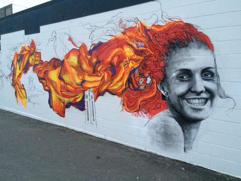 Mural at Rouge Cafe, Cambridge, featuring rower Emma Dyke