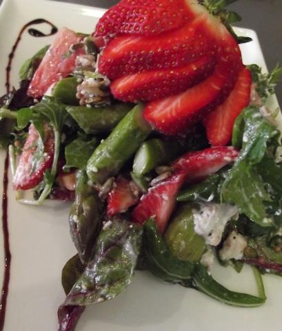 Strawberry and asparagus salad at Rouge, Cambridge